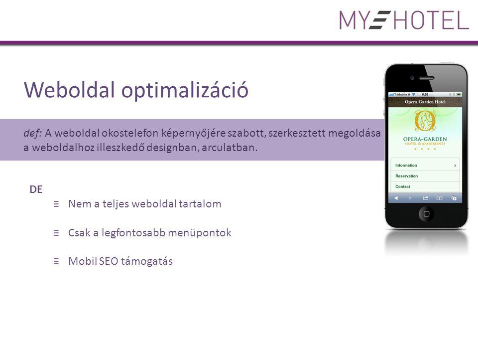 Weboldal optimalizáció def: A weboldal okostelefon képernyőjére szabott, szerkesztett megoldása a weboldalhoz illeszkedő designban, arculatban.