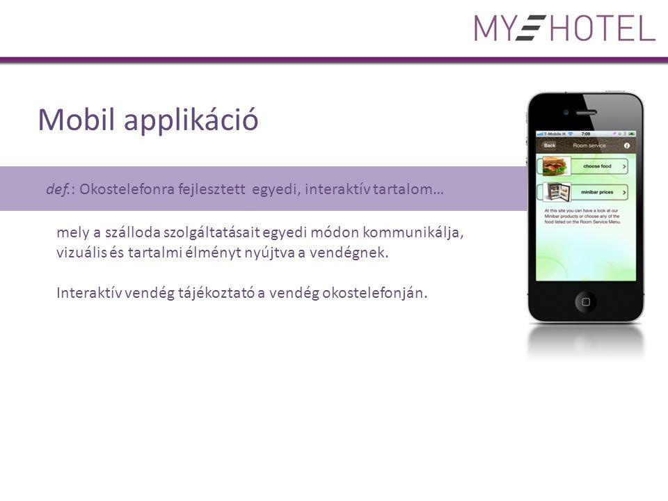 Mobil applikáció def.: Okostelefonra fejlesztett egyedi, interaktív tartalom… mely a szálloda szolgáltatásait egyedi módon kommunikálja, vizuális és tartalmi élményt nyújtva a vendégnek.