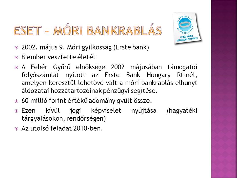  2002. május 9. Móri gyilkosság (Erste bank)  8 ember vesztette életét  A Fehér Gyűrű elnöksége 2002 májusában támogatói folyószámlát nyitott az Er