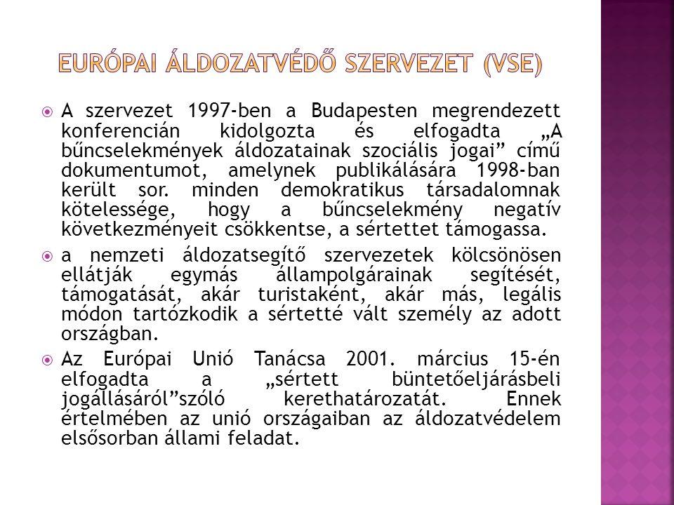 """ A szervezet 1997-ben a Budapesten megrendezett konferencián kidolgozta és elfogadta """"A bűncselekmények áldozatainak szociális jogai"""" című dokumentum"""