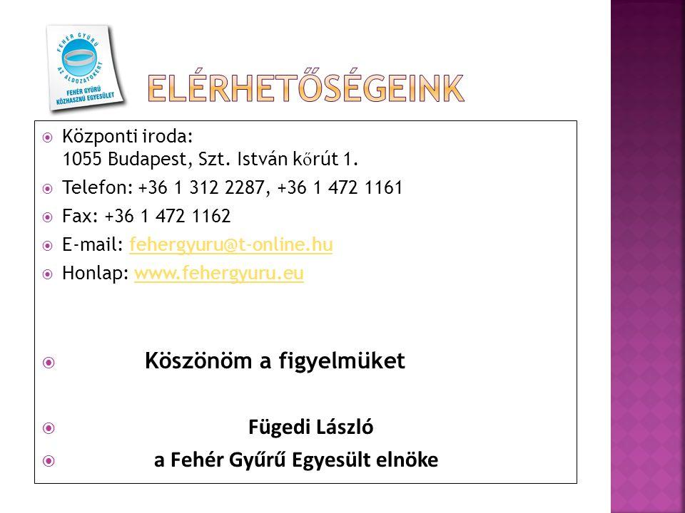  Központi iroda: 1055 Budapest, Szt. István k ő rút 1.  Telefon: +36 1 312 2287, +36 1 472 1161  Fax: +36 1 472 1162  E-mail: fehergyuru@t-online.