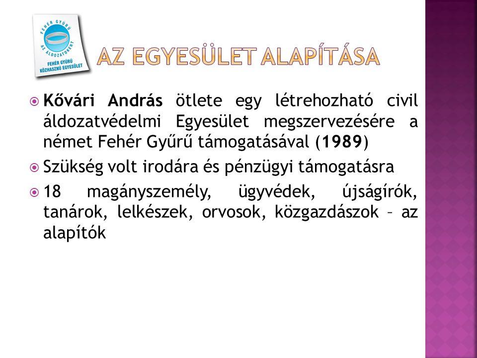  Kővári András ötlete egy létrehozható civil áldozatvédelmi Egyesület megszervezésére a német Fehér Gyűrű támogatásával (1989)  Szükség volt irodára
