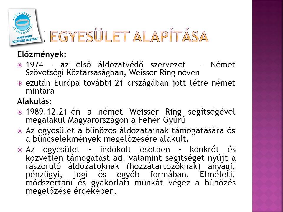 Előzmények:  1974 – az első áldozatvédő szervezet – Német Szövetségi Köztársaságban, Weisser Ring néven  ezután Európa további 21 országában jött létre német mintára Alakulás:  1989.12.21-én a német Weisser Ring segítségével megalakul Magyarországon a Fehér Gyűrű  Az egyesület a bűnözés áldozatainak támogatására és a bűncselekmények megelőzésére alakult.