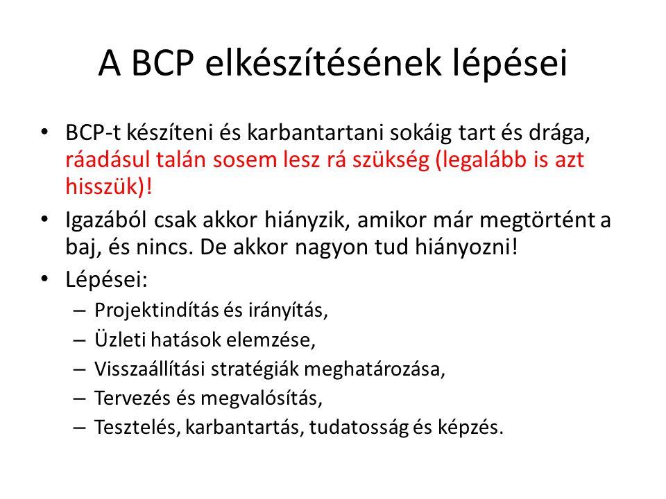 A BCP elkészítésének lépései • BCP-t készíteni és karbantartani sokáig tart és drága, ráadásul talán sosem lesz rá szükség (legalább is azt hisszük).