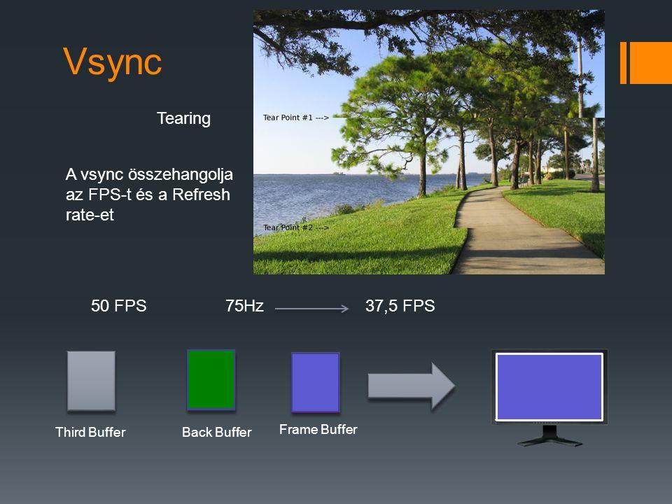 Vsync Tearing A vsync összehangolja az FPS-t és a Refresh rate-et 50 FPS75Hz37,5 FPS Frame Buffer Back Buffer Third Buffer