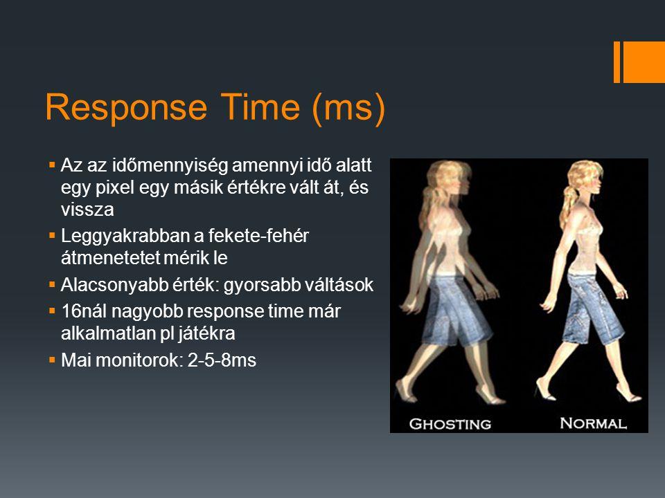 Response Time (ms)  Az az időmennyiség amennyi idő alatt egy pixel egy másik értékre vált át, és vissza  Leggyakrabban a fekete-fehér átmenetetet mérik le  Alacsonyabb érték: gyorsabb váltások  16nál nagyobb response time már alkalmatlan pl játékra  Mai monitorok: 2-5-8ms