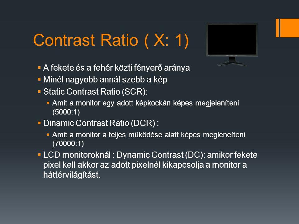 Contrast Ratio ( X: 1)  A fekete és a fehér közti fényerő aránya  Minél nagyobb annál szebb a kép  Static Contrast Ratio (SCR):  Amit a monitor egy adott képkockán képes megjeleníteni (5000:1)  Dinamic Contrast Ratio (DCR) :  Amit a monitor a teljes működése alatt képes megleneíteni (70000:1)  LCD monitoroknál : Dynamic Contrast (DC): amikor fekete pixel kell akkor az adott pixelnél kikapcsolja a monitor a háttérvilágítást.