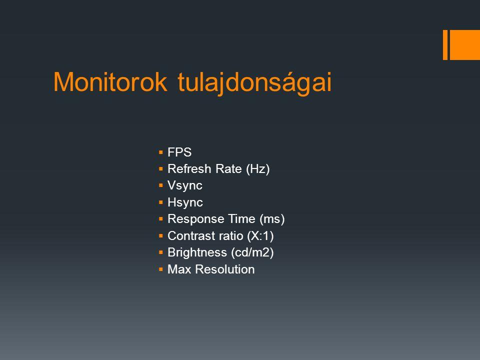 Monitorok tulajdonságai  FPS  Refresh Rate (Hz)  Vsync  Hsync  Response Time (ms)  Contrast ratio (X:1)  Brightness (cd/m2)  Max Resolution