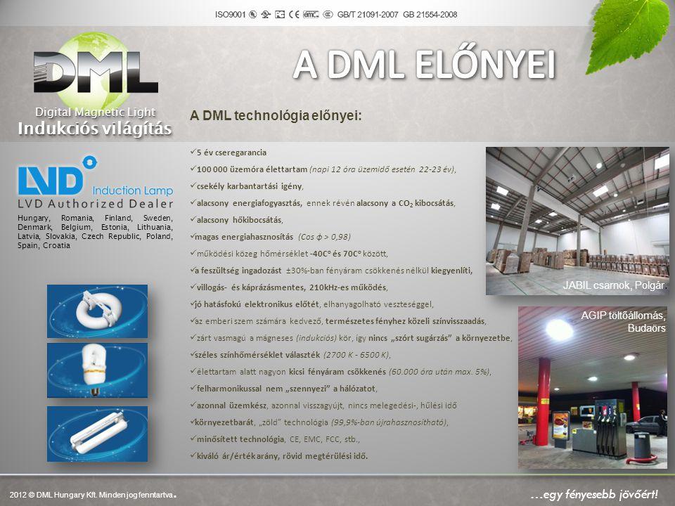 JABIL csarnok, Polgár. AGIP töltőállomás, Budaörs A DML technológia előnyei:  5 év cseregarancia  100 000 üzemóra élettartam (napi 12 óra üzemidő es