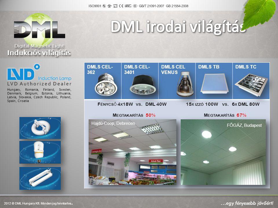 DMLS CEL- 362 DMLS CEL- 3401 DMLS CEL VENUS DMLS TBDMLS TC F ÉNYCS Ő 4 X 18W VS. DML 40W 15 X IZZÓ 100W VS. 6 X DML 80W M EGTAKARÍTÁS 50% M EGTAKARÍTÁ