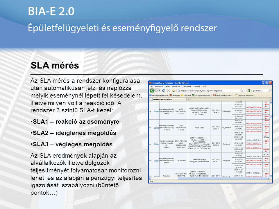 SLA mérés Az SLA mérés a rendszer konfigurálása után automatikusan jelzi és naplózza melyik eseménynél lépett fel késedelem, illetve milyen volt a rea