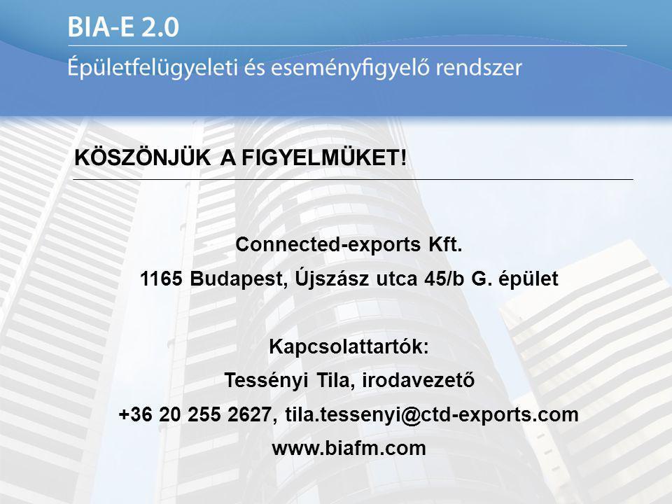 KÖSZÖNJÜK A FIGYELMÜKET! Connected-exports Kft. 1165 Budapest, Újszász utca 45/b G. épület Kapcsolattartók: Tessényi Tila, irodavezető +36 20 255 2627
