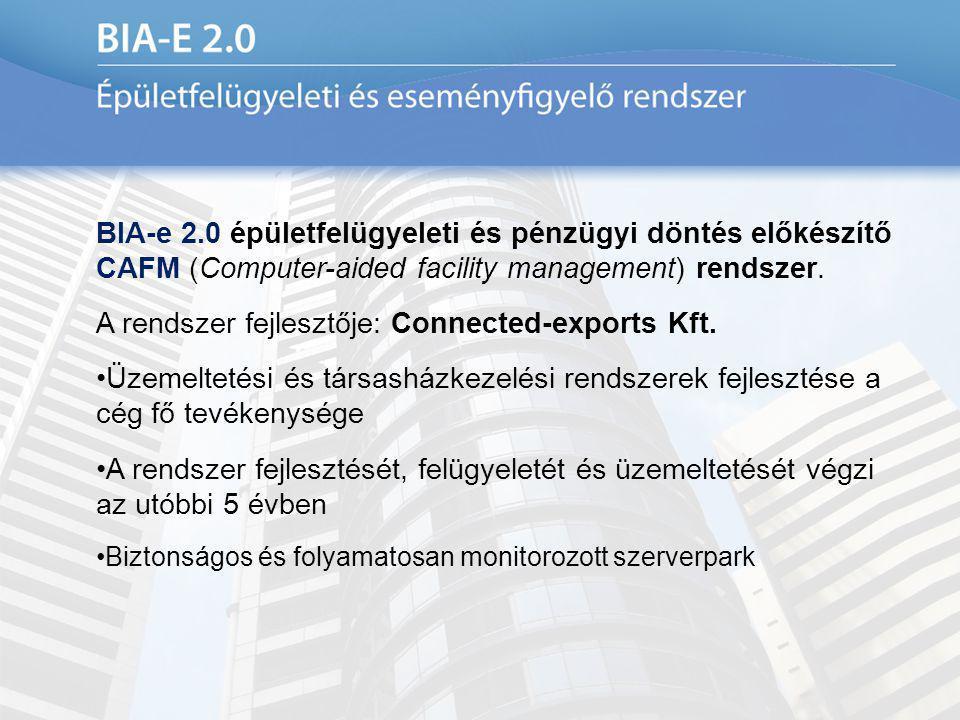 BIA-e 2.0 épületfelügyeleti és pénzügyi döntés előkészítő CAFM (Computer-aided facility management) rendszer. A rendszer fejlesztője: Connected-export