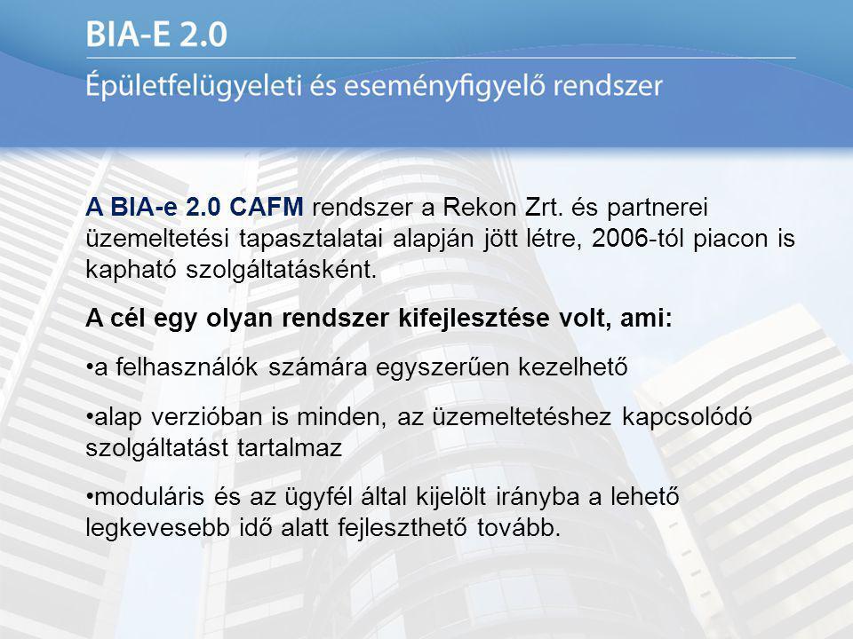 A BIA-e 2.0 CAFM rendszer a Rekon Zrt. és partnerei üzemeltetési tapasztalatai alapján jött létre, 2006-tól piacon is kapható szolgáltatásként. A cél