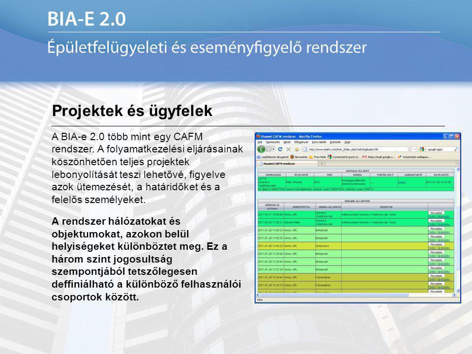 Projektek és ügyfelek A BIA-e 2.0 több mint egy CAFM rendszer. A folyamatkezelési eljárásainak köszönhetően teljes projektek lebonyolítását teszi lehe