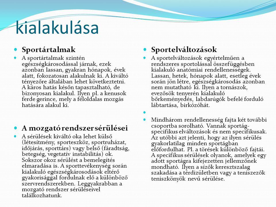 kialakulása  Sportártalmak  A sportártalmak szintén egészségkárosodással járnak, ezek azonban lassan, gyakran hónapok, évek alatt, fokozatosan alaku