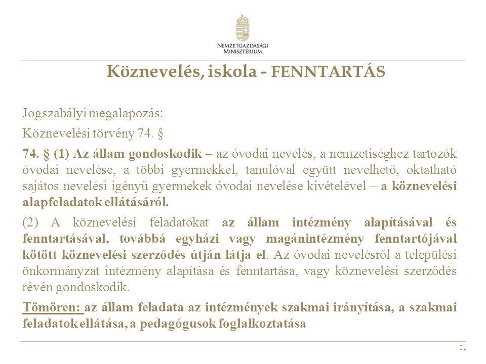 21 Köznevelés, iskola - FENNTARTÁS Jogszabályi megalapozás: Köznevelési törvény 74. § 74. § (1) Az állam gondoskodik – az óvodai nevelés, a nemzetiség