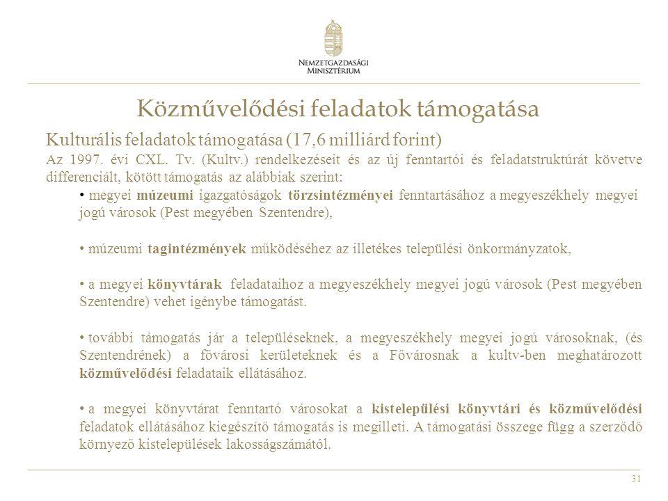 31 Közművelődési feladatok támogatása Kulturális feladatok támogatása (17,6 milliárd forint) Az 1997. évi CXL. Tv. (Kultv.) rendelkezéseit és az új fe