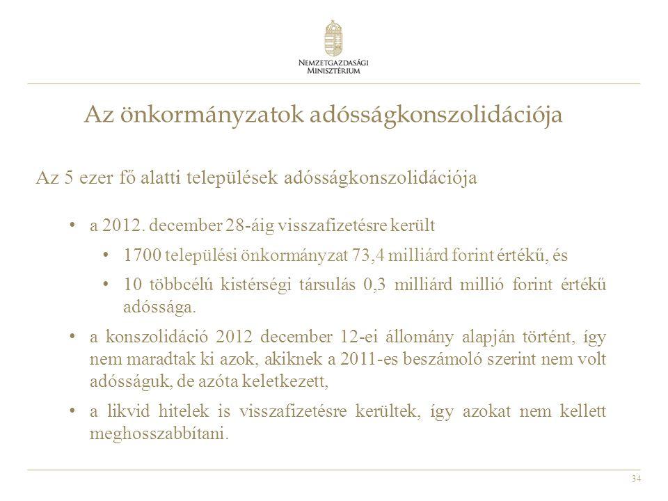 34 Az önkormányzatok adósságkonszolidációja Az 5 ezer fő alatti települések adósságkonszolidációja • a 2012. december 28-áig visszafizetésre került •