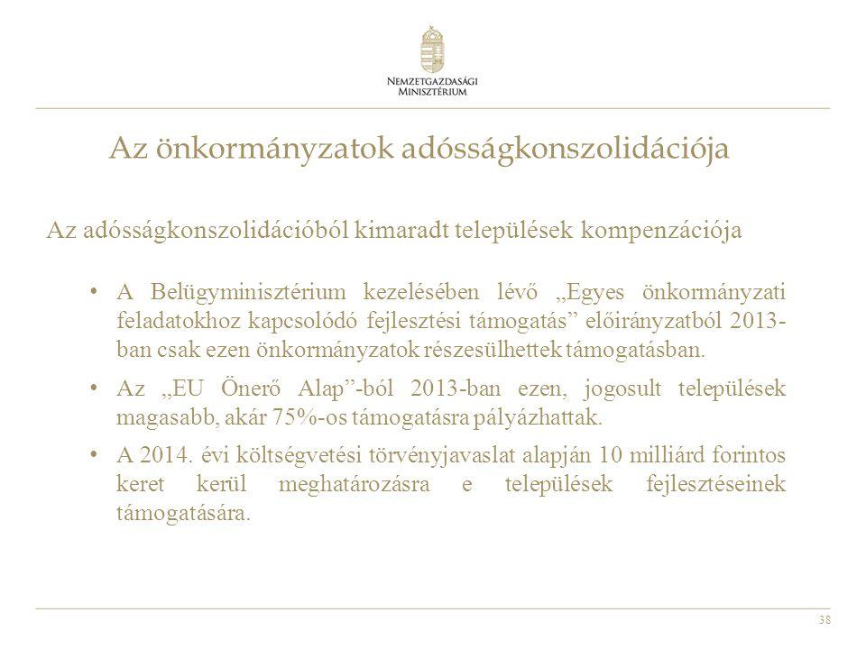 """38 Az önkormányzatok adósságkonszolidációja Az adósságkonszolidációból kimaradt települések kompenzációja • A Belügyminisztérium kezelésében lévő """"Egy"""