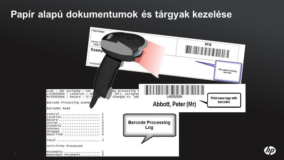 13 Papír alapú dokumentumok és tárgyak kezelése