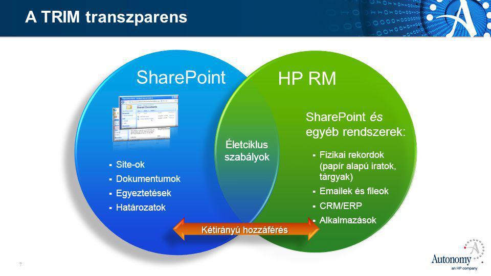 7 HP RM SharePoint  Site-ok  Dokumentumok  Egyeztetések  Határozatok Életciklus szabályok Kétirányú hozzáférés SharePoint és egyéb rendszerek:  Fizikai rekordok (papír alapú iratok, tárgyak)  Emailek és fileok  CRM/ERP  Alkalmazások A TRIM transzparens