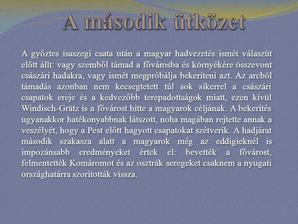 A győztes isaszegi csata után a magyar hadvezetés ismét válaszút előtt állt: vagy szemből támad a fővárosba és környékére összevont császári hadakra,