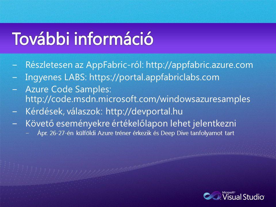 −Részletesen az AppFabric-ról: http://appfabric.azure.com −Ingyenes LABS: https://portal.appfabriclabs.com −Azure Code Samples: http://code.msdn.microsoft.com/windowsazuresamples −Kérdések, válaszok: http://devportal.hu −Követő eseményekre értékelőlapon lehet jelentkezni −Ápr.
