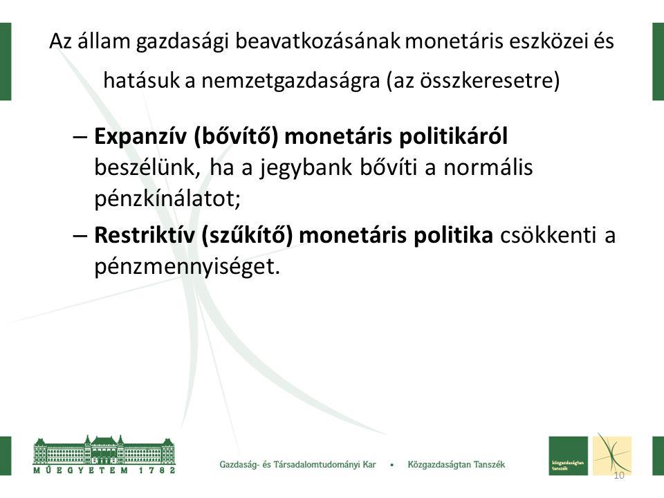 10 Az állam gazdasági beavatkozásának monetáris eszközei és hatásuk a nemzetgazdaságra (az összkeresetre) – Expanzív (bővítő) monetáris politikáról be
