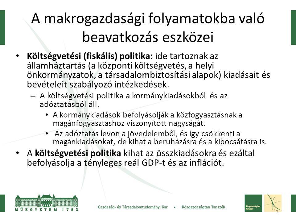 7 A makrogazdasági folyamatokba való beavatkozás eszközei • Költségvetési (fiskális) politika: • Költségvetési (fiskális) politika: ide tartoznak az á