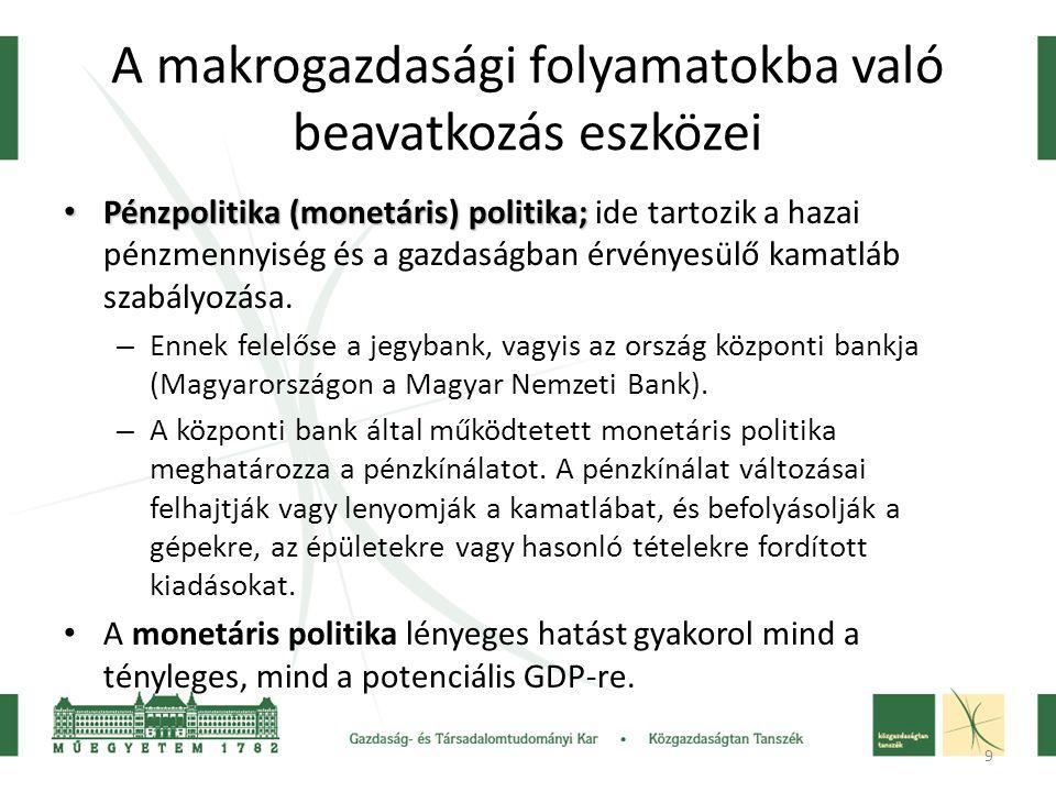 9 A makrogazdasági folyamatokba való beavatkozás eszközei • Pénzpolitika (monetáris) politika; • Pénzpolitika (monetáris) politika; ide tartozik a haz