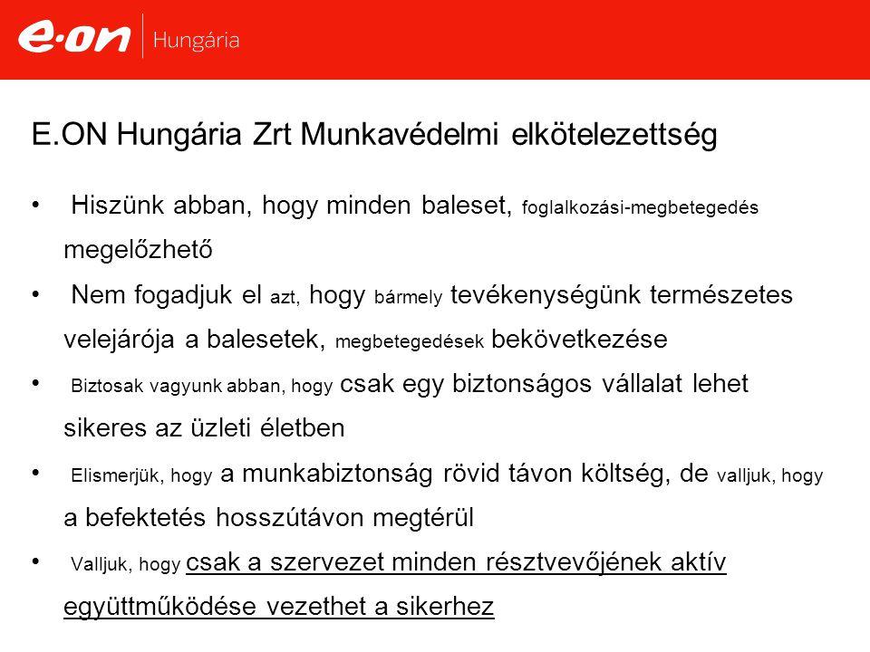 E.ON Hungária Zrt Munkavédelmi elkötelezettség • Hiszünk abban, hogy minden baleset, foglalkozási-megbetegedés megelőzhető • Nem fogadjuk el azt, hogy bármely tevékenységünk természetes velejárója a balesetek, megbetegedések bekövetkezése • Biztosak vagyunk abban, hogy csak egy biztonságos vállalat lehet sikeres az üzleti életben • Elismerjük, hogy a munkabiztonság rövid távon költség, de valljuk, hogy a befektetés hosszútávon megtérül • Valljuk, hogy csak a szervezet minden résztvevőjének aktív együttműködése vezethet a sikerhez