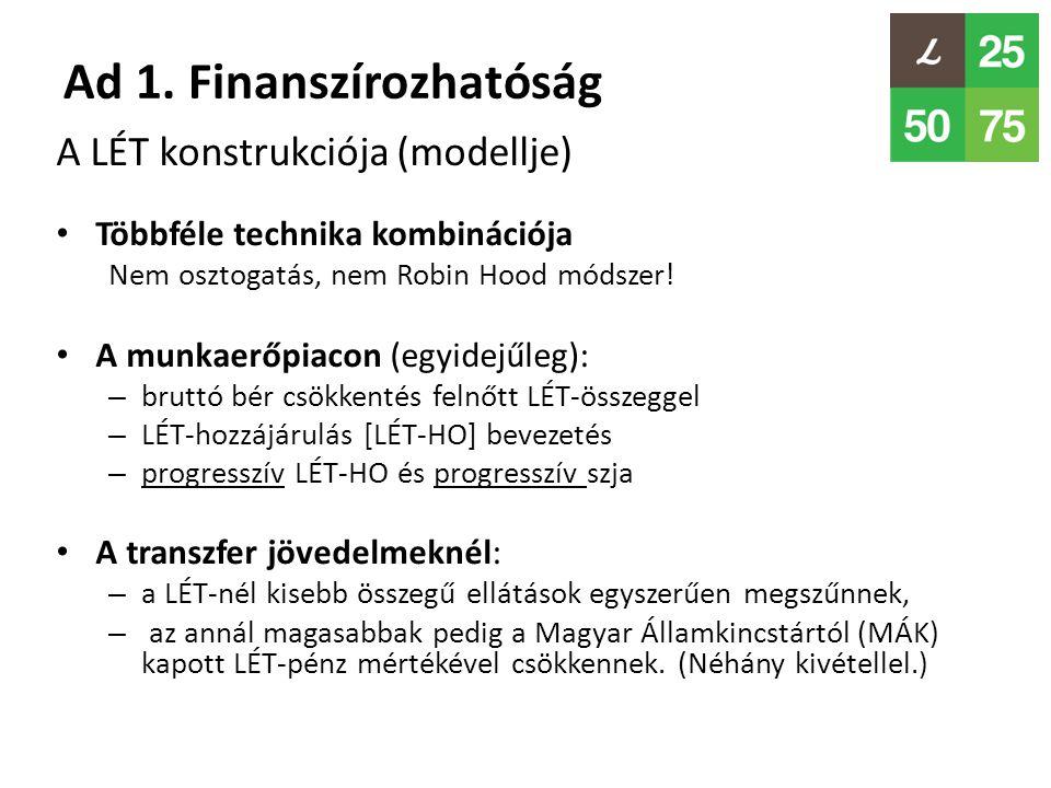 Ad 1. Finanszírozhatóság A LÉT konstrukciója (modellje) • Többféle technika kombinációja Nem osztogatás, nem Robin Hood módszer! • A munkaerőpiacon (e