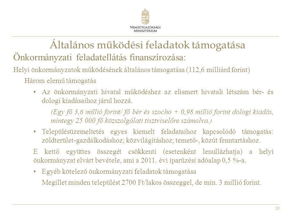 26 Általános működési feladatok támogatása Önkormányzati feladatellátás finanszírozása: Helyi önkormányzatok működésének általános támogatása (112,6 m