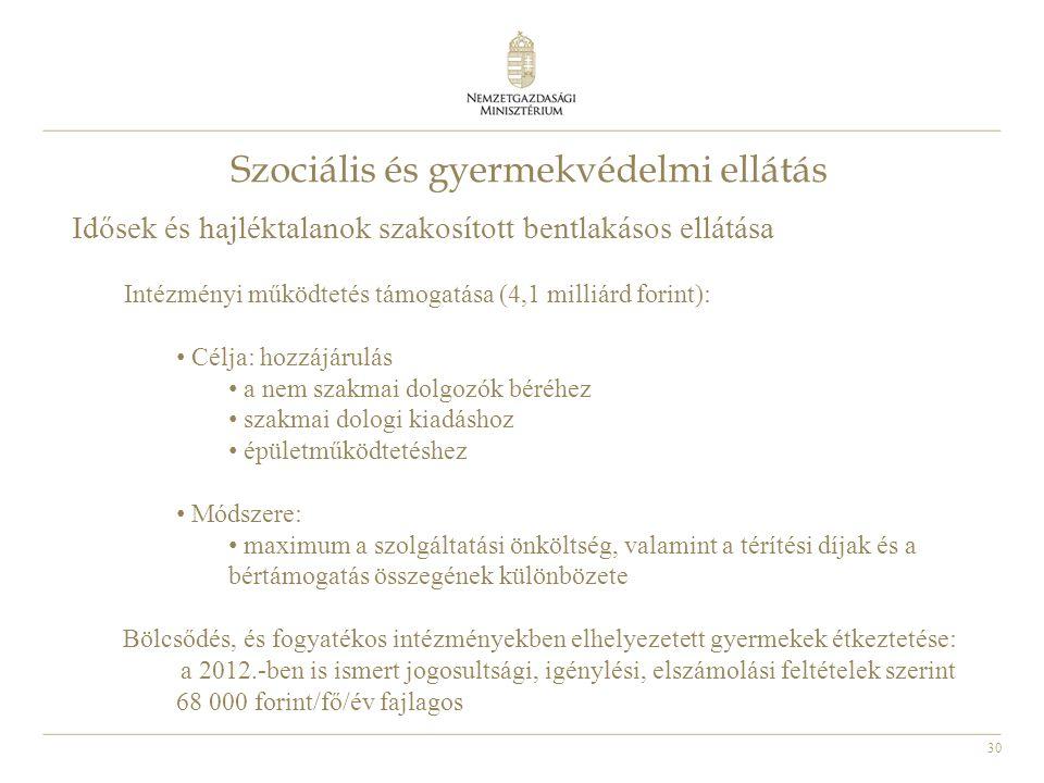 30 Szociális és gyermekvédelmi ellátás Idősek és hajléktalanok szakosított bentlakásos ellátása Intézményi működtetés támogatása (4,1 milliárd forint)