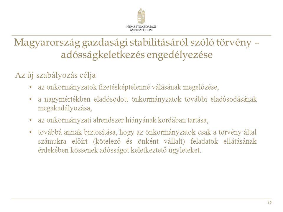 36 Magyarország gazdasági stabilitásáról szóló törvény – adósságkeletkezés engedélyezése Az új szabályozás célja • az önkormányzatok fizetésképtelenné