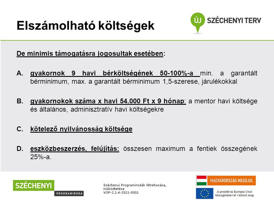 Elszámolható költségek De minimis támogatásra jogosultak esetében: A.gyakornok 9 havi bérköltségének 50-100%-a min.