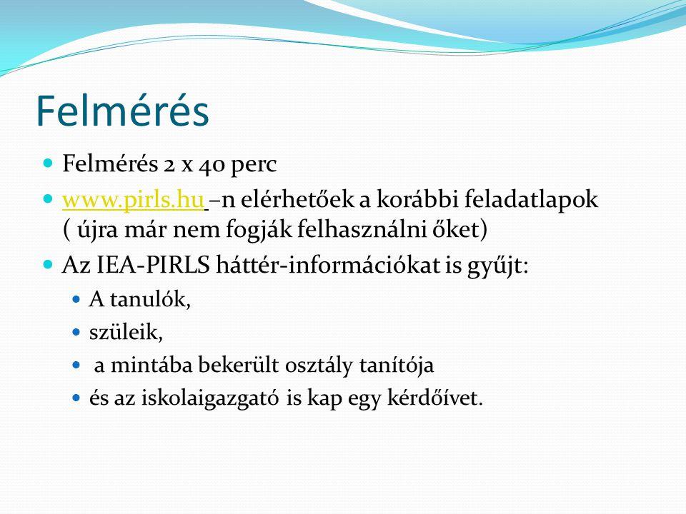 Felmérés  Felmérés 2 x 40 perc  www.pirls.hu –n elérhetőek a korábbi feladatlapok ( újra már nem fogják felhasználni őket) www.pirls.hu  Az IEA-PIR