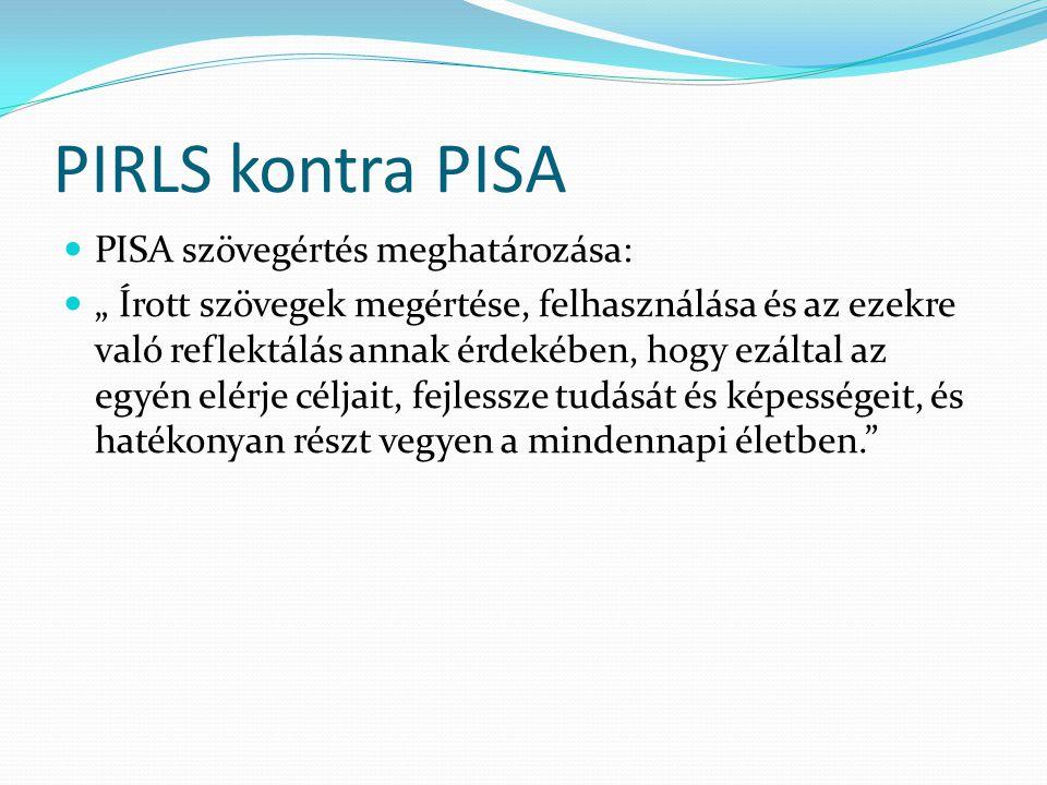 """PIRLS kontra PISA  PISA szövegértés meghatározása:  """" Írott szövegek megértése, felhasználása és az ezekre való reflektálás annak érdekében, hogy ez"""