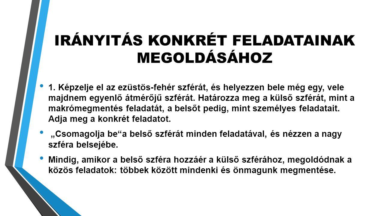 IRÁNYITÁS KONKRÉT FELADATAINAK MEGOLDÁSÁHOZ • 1.