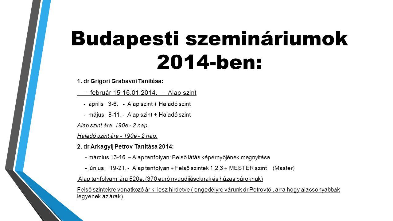 Budapesti szemináriumok 2014-ben: 1.dr Grigori Grabavoi Tanitása: - február 15-16.01.2014.