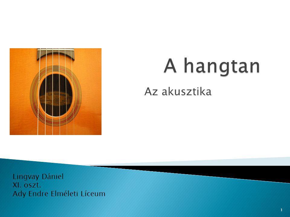 Lingvay Dániel XI. oszt. Ady Endre Elméleti Líceum Az akusztika 1