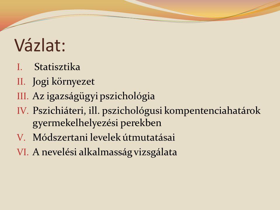 Vázlat: I.Statisztika II. Jogi környezet III. Az igazságügyi pszichológia IV.