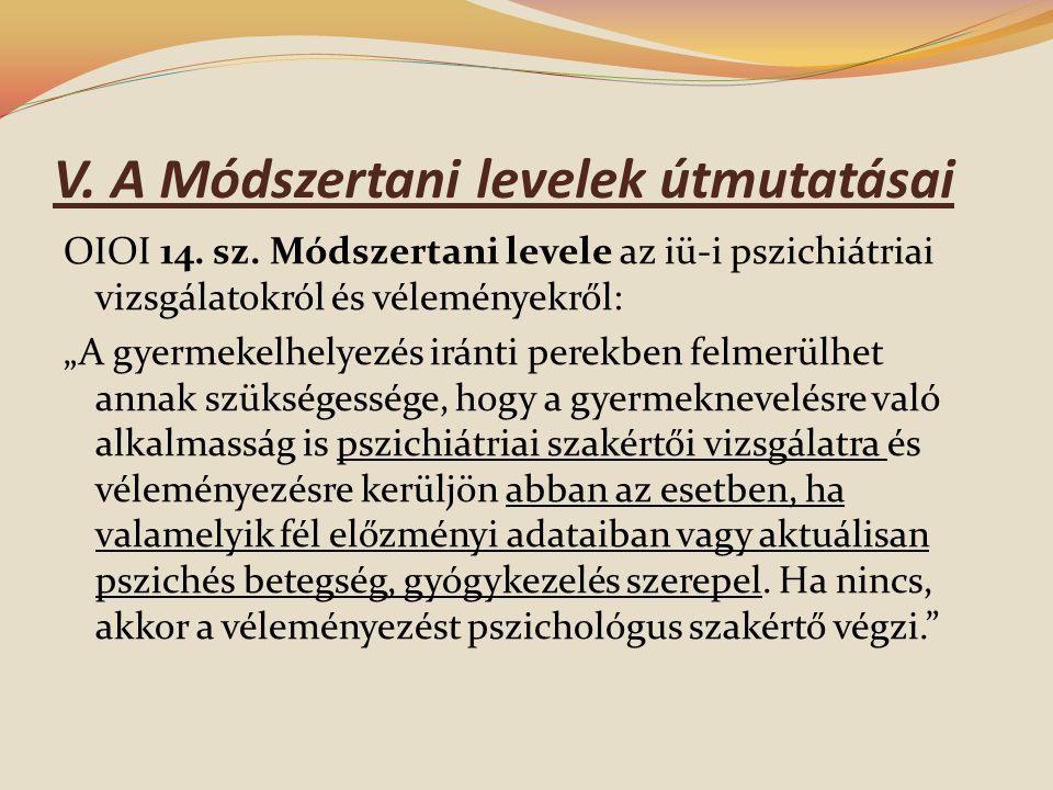 V.A Módszertani levelek útmutatásai OIOI 14. sz.