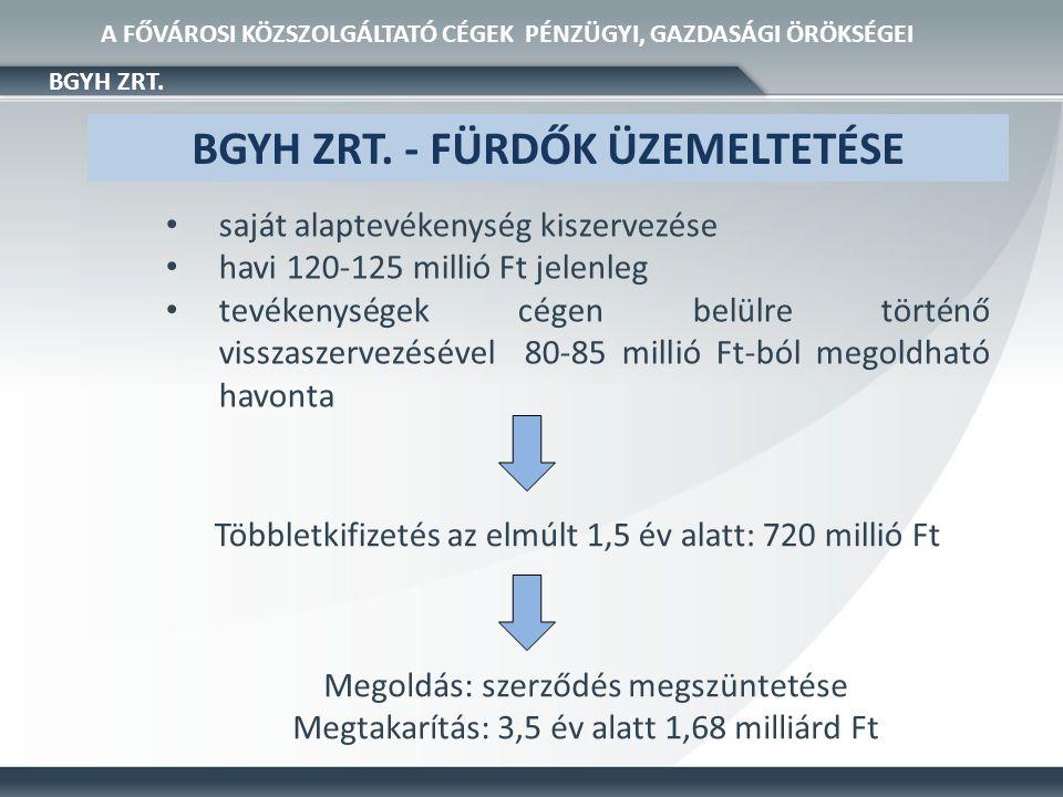 • saját alaptevékenység kiszervezése • havi 120-125 millió Ft jelenleg • tevékenységek cégen belülre történő visszaszervezésével 80-85 millió Ft-ból megoldható havonta BGYH ZRT.