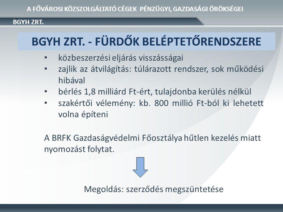 • közbeiktatott cég, 30+25 éves opcióval • a vállalt 30 millió Ft-os felújítási munkát az eddigi vizsgálatok szerint csak papíron végezték el BTI ZRT.