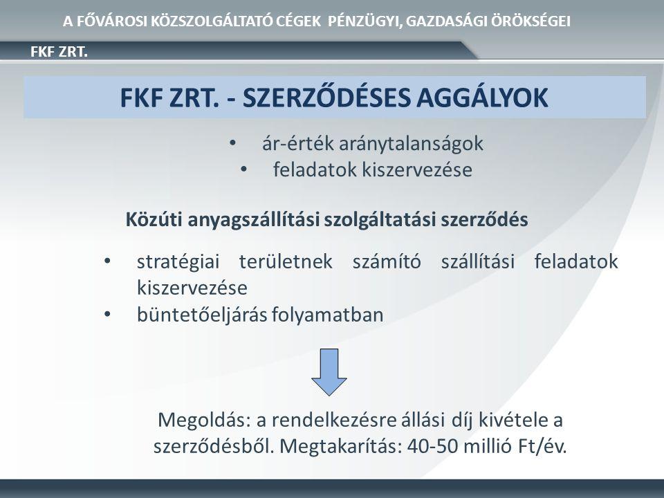 • stratégiai területnek számító szállítási feladatok kiszervezése • büntetőeljárás folyamatban FKF ZRT.
