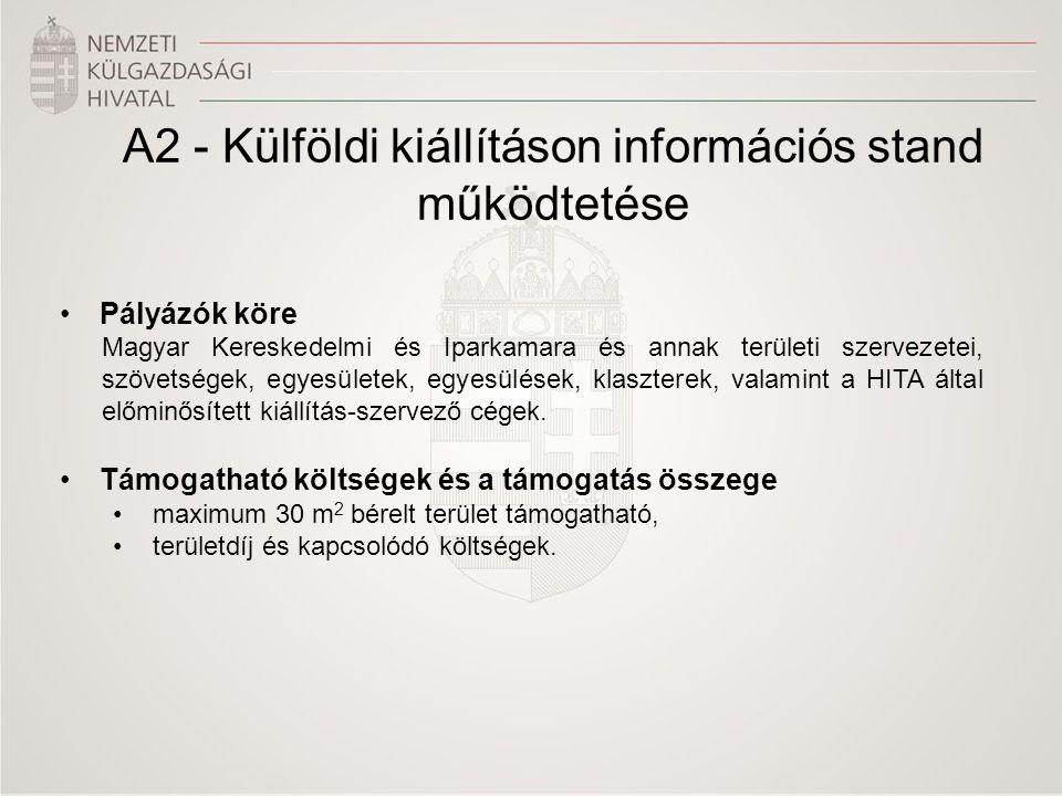 A2 - Külföldi kiállításon információs stand működtetése •Pályázók köre Magyar Kereskedelmi és Iparkamara és annak területi szervezetei, szövetségek, egyesületek, egyesülések, klaszterek, valamint a HITA által előminősített kiállítás-szervező cégek.