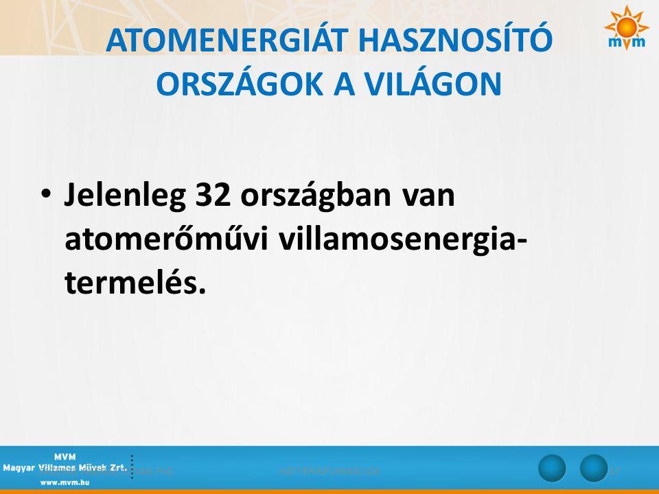 ATOMENERGIÁT HASZNOSÍTÓ ORSZÁGOK A VILÁGON • Jelenleg 32 országban van atomerőművi villamosenergia- termelés. FAZEKAS ANDRÁS ISTVÁN PhDHÁTTÉRINFORMÁCI