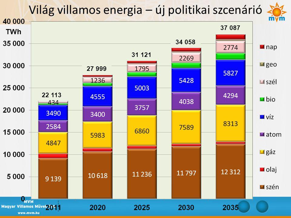 Világ villamos energia – új politikai szcenárió 22 113 27 999 31 121 34 058 37 087 TWh